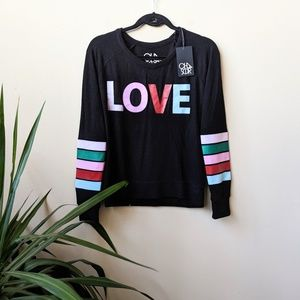 Chaser Love Raglan Striped Color Block Jumper sz S